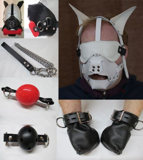 Pet-Play / Animal role play Head Harness, Mitts and Add On Accessory Set (Pup play / kitten play)
